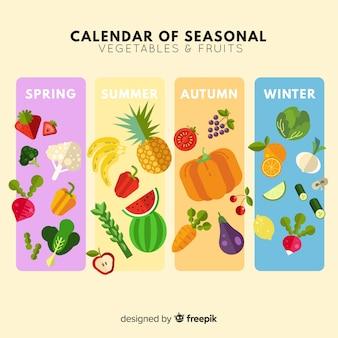 Calendário plano de frutas e legumes da estação
