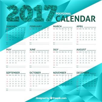Calendário poligonal 2017