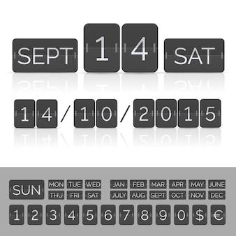 Calendário preto com números de cronômetro e placar. ilustração eps10