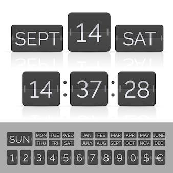 Calendário preto com números de cronômetro e placar.