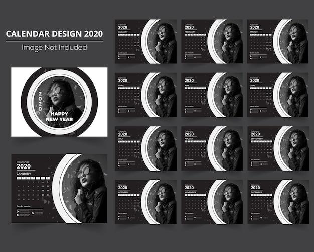 Calendário preto e branco 2020