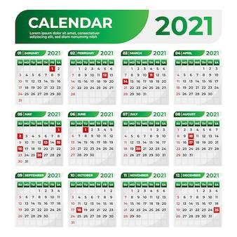 Calendário profissional de negócios com uma cor gradiente verde