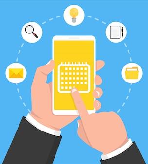 Calendário, programação, lembrete, planejamento de aplicativo na tela do smartphone