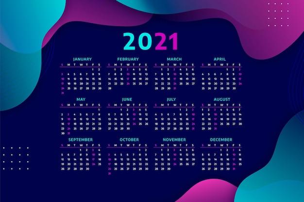 Calendário realista de ano novo 2021