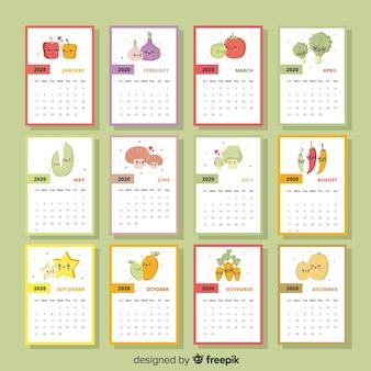 Calendário sazonal colorido de frutas e legumes