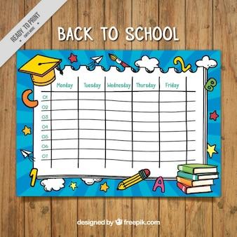 Calendário semanal agradável com tampão da graduação amarelo