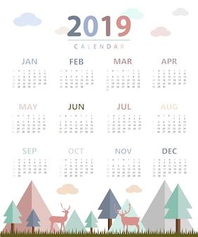 Calendário simples 2019