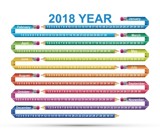 Calendário simples de 2018 anos.