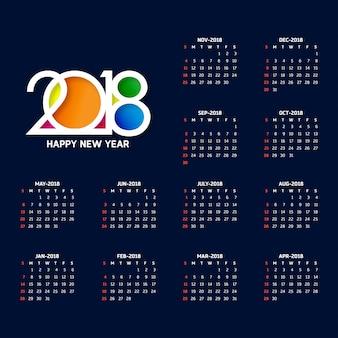 Calendário simples para o ano 2018 a semana começa a partir do domingo criativo colorido 2018 tipografia fundo azul