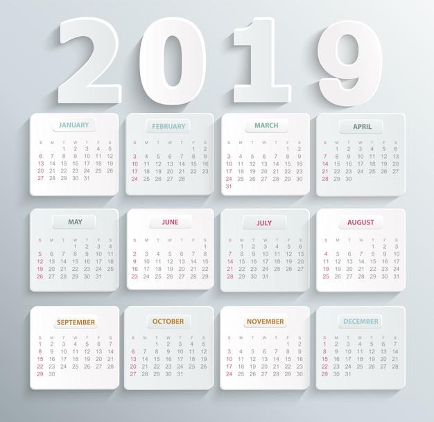 Calendário simples para o ano de 2019