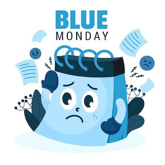 Calendário triste na segunda-feira azul