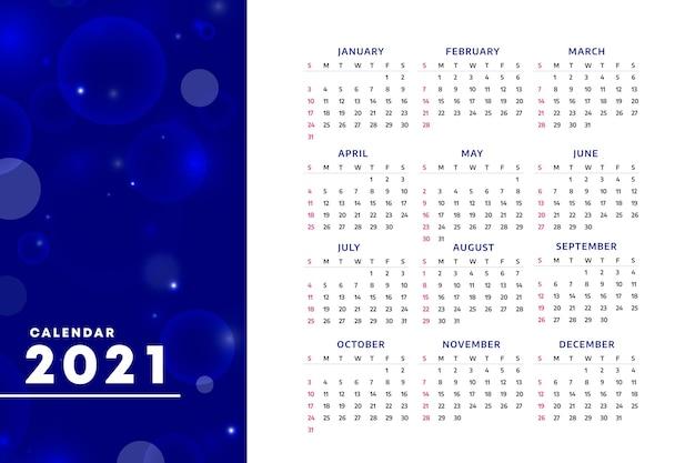 Calendário turvo de ano novo de 2021