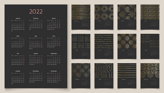 Calendário vertical de parede preta e dourada de luxo para a semana de 2022 começa na segunda-feira