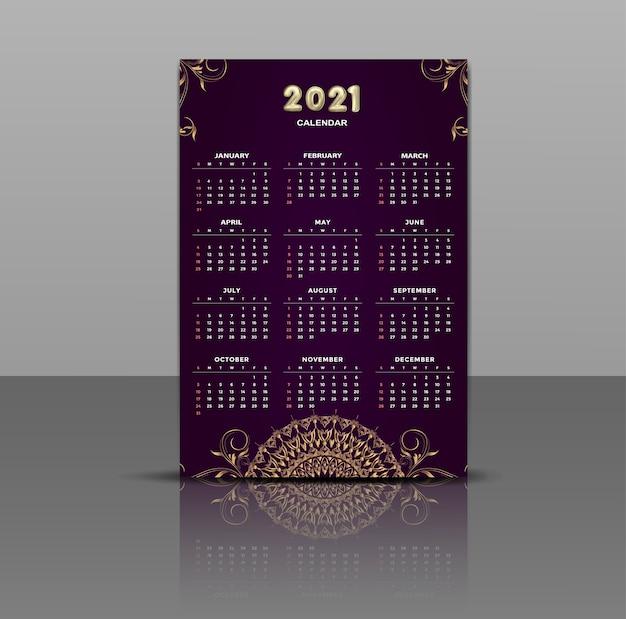 Calendário vintage de luxo mandala dourado 2021