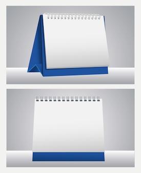 Calendários brancos, lembretes, maquete, ícones, ilustração vetorial, design