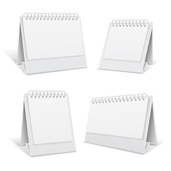 Calendários de escritório em branco branco espiral mesa 3d isolados ilustração vetorial