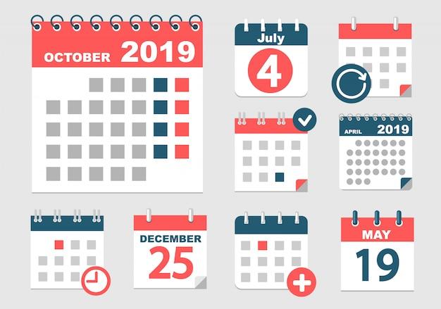 Calendários diferentes com diferentes opções para 2018