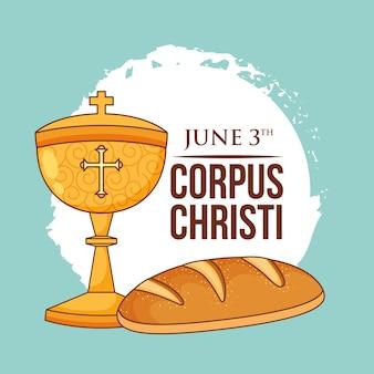 Cálice com desenho de pão. cartão corpus christi