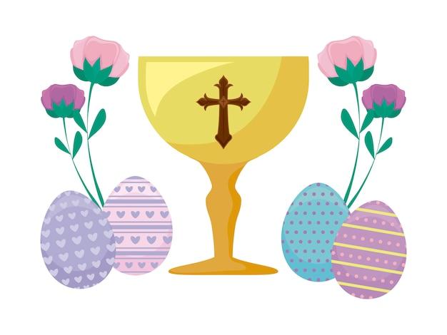 Cálice com ovos de páscoa e flores