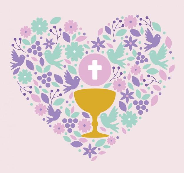 Cálice com santo anfitrião e pombas dentro do coração para evento