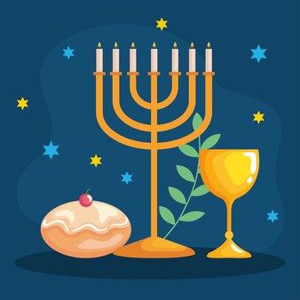 Cálice de hanukkah menorah feliz e design sufganiot, celebração de feriado, festival de religião do judaísmo
