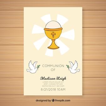 Cálice de mão desenhada primeiro convite de comunhão