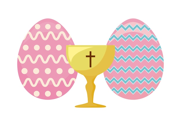 Cálice sagrado com ovos de páscoa