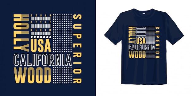Califórnia - hollywood, eua. design de t-shirt moda tipográfica abstrata