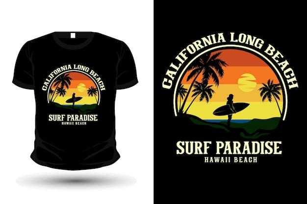 Califórnia long beach surf paradise mercadoria silhueta t mockup design