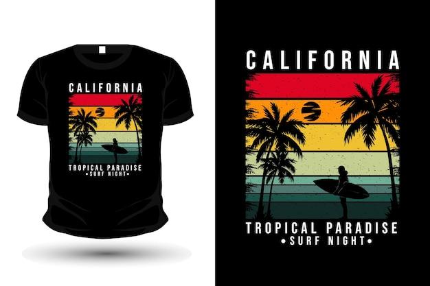 Califórnia paraíso tropical mercadoria silhueta design de t-shirt estilo retro