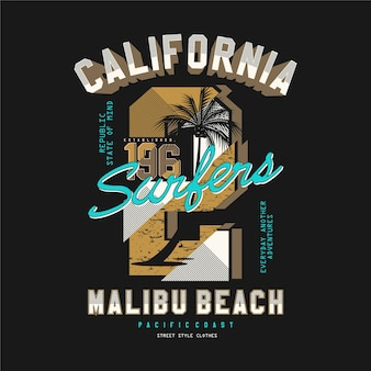 Califórnia, praia de malibu, design de t-shirt com tipografia vetorial para impressão