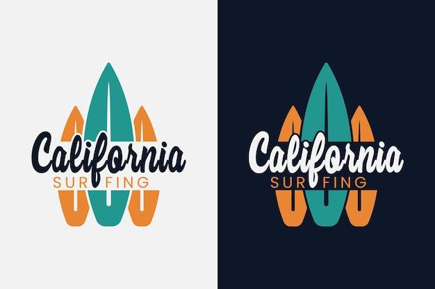 Califórnia surfando praia tipografia vintage verão surfando camisetas design ilustração