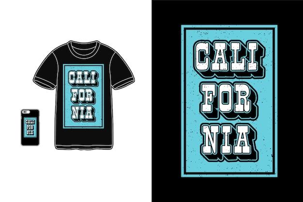 Califórnia, t-shirt tifografia azul efeito 3d