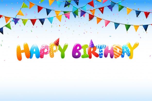 Caligrafia 3d colorida feliz aniversário 0005
