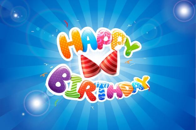 Caligrafia colorida feliz aniversário