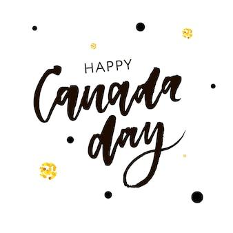 Caligrafia da frase de rotulação do feriado do dia de canadá