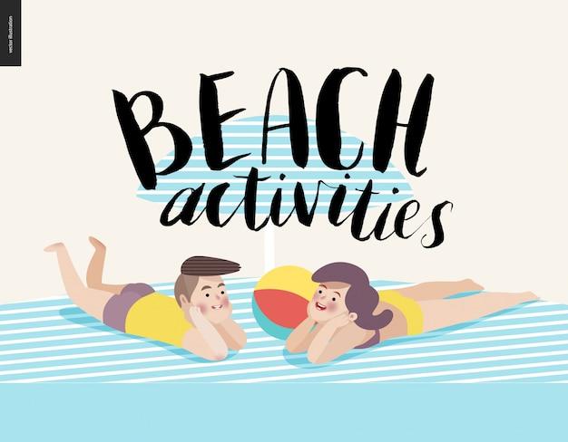 Caligrafia de actividades de praia com jovem casal de banhos de sol