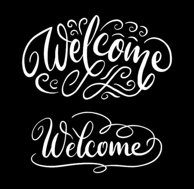 Caligrafia de caligrafia bem-vinda