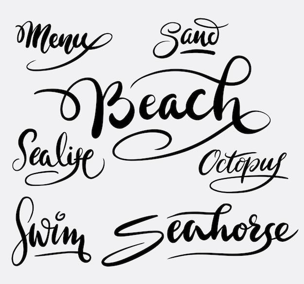 Caligrafia de caligrafia de praia e areia