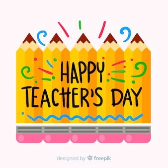 Caligrafia de dia dos professores do mundo com lápis