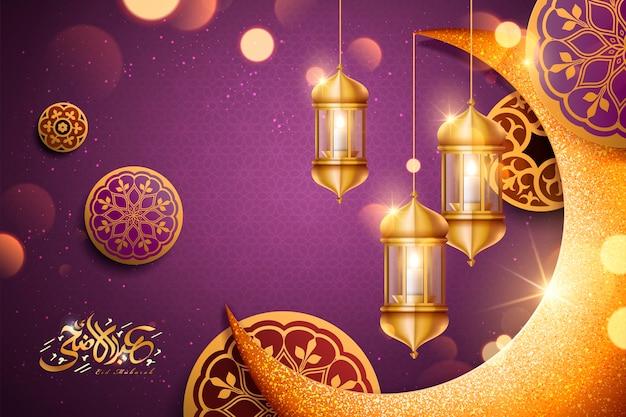 Caligrafia de eid al adha com o crescente dourado brilhante e elementos de lanterna, fundo roxo