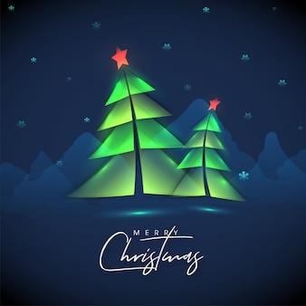Caligrafia de feliz natal com papel cortado estilo árvore de natal e flocos de neve decorados nas montanhas azuis.