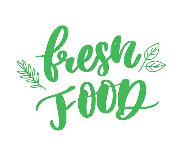 Caligrafia de letras de alimentos frescos verde carimbo de borracha