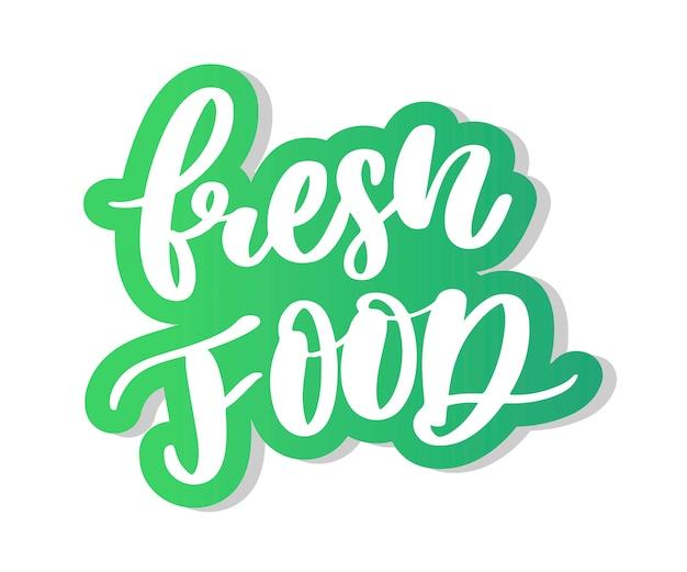 Caligrafia de letras de alimentos frescos