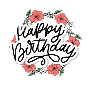 Caligrafia de letras de feliz aniversário