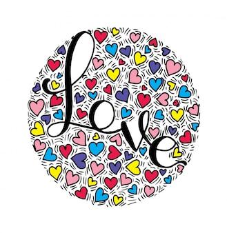 Caligrafia de letras de mão de amor no fundo do círculo