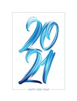 Caligrafia de letras de tinta acrílica de pincelada azul de 2021.