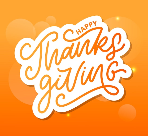 Caligrafia de letras feliz ação de graças