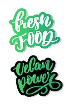Caligrafia de letras vegan comida fresca carimbo verde