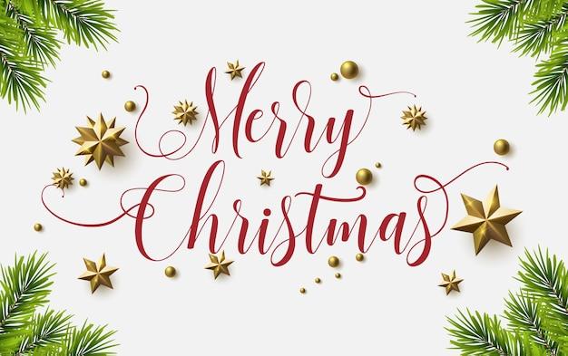 Caligrafia de natal feliz com um fundo branco e estrelas cintilantes